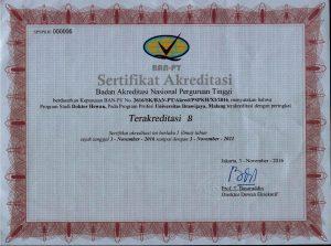Sertifikat Akreditasi BAN PT untuk SARJANA 03 Nov 2016-03 Nov 2021
