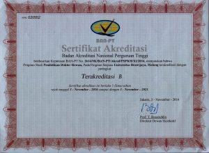 Sertifikat Akreditasi BAN PT untuk PROFESI 03 Nov 2016-03 Nov 2021