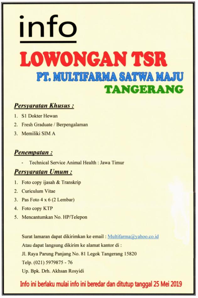 Lowongan Tsr Pt Multifarma Satwa Maju Tangerang Fakultas